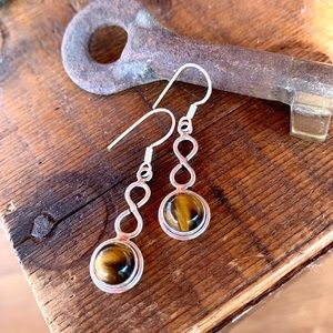 ✨TIGER EYE RUSTIC STERLING SILVER DANGLE EARRINGS✨